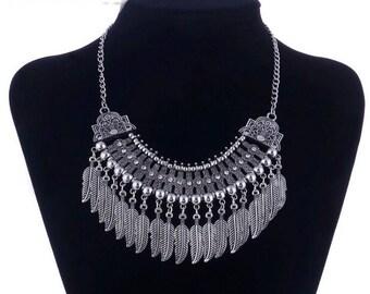 Silver tone Bohemian leaf necklace chocker  Chain fashion arabian
