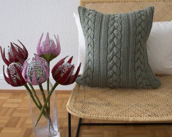 Strikk Hand Knit Knotted Cable Cushion in Grey