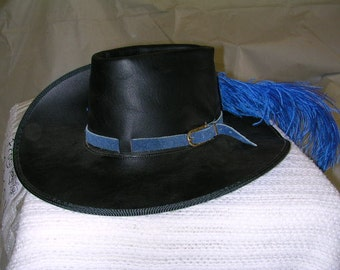 Black Leather Cavalier hat with 4 inch brim
