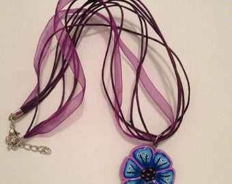 Flower Cane polymer clay necklace