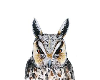 Great Horned Owl Watercolor Nature Animal Printable Art
