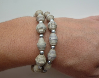 """elastic bracelet """"stone and silver"""" round beads, silver, and gray painted cardboard oval beads"""