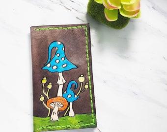 Mens Mushroom wallet / mens leather wallet / mountain wallet/ minimalist wallet / gift for him