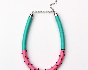 Statement rope necklace/rope jewelry/handmade jewelry/polka dot/turquoise/pink/watermelon/beads/for her/gift ideas/spring/summer style