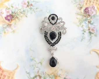 Black rhinestone brooch.Rhinestone Brooch.Crystal Brooch.Black Crystal Brooch.Vintage Style.Bridal Sash Brooch.Victorian Style.Tear Drop.Pin