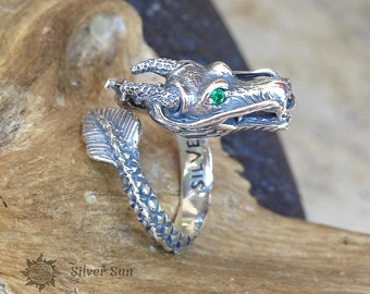 Sterling Silver Dragon Ring Eyes Multi-colored Zircons Jewelry Design Silver Sun Style Handmade Made in Bali Inner Diameter Any Regulated