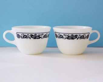 Set of 2 Vintage Pyrex Old Town Blue & White Tea Cups