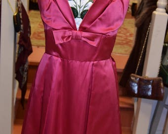 "Early 1960's pink satin dress 34"" bust 26"" waist."