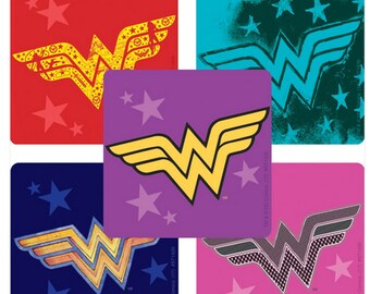 "25 Wonder Woman Logo Stickers, 2.5"" x 2.5"" Each"