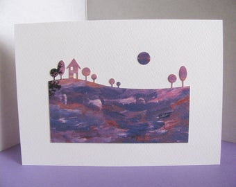 Watercolour Print Landscape Silhouette with Moon on Creamy Ivory Card / Purple, Lilac, Mauve & Touch of Red / A2 Size / Ready to Ship