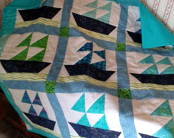 Sailboat Baby Quilt or Wall Hanging