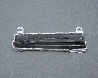 Tourmaline Double Bail Pendant with Silver Electroplated Edge and Bails (S20B20-01)