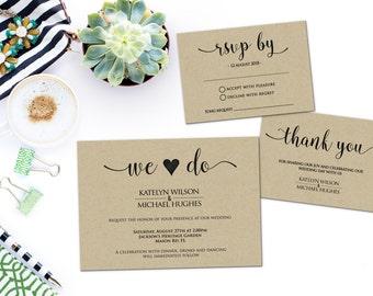 Printed Card - Digital Printable Files Rustic Kraft Craft Paper Watercolor Calligraphy Wedding Invitation RSVP Set Wedding Stationery ID706