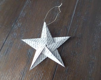 Paper star made from recycled books; Folded paper star; Origami star ornament