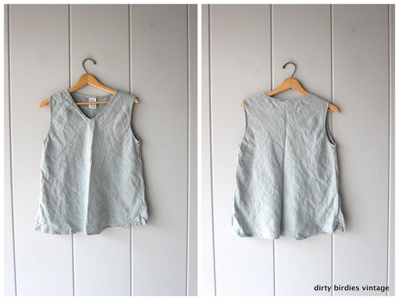 Minimal Linen Tank Top 90s Vintage Whisper Blue Tank Sleeveless Linen Blouse Casual Summer Airy Top Womens Medium