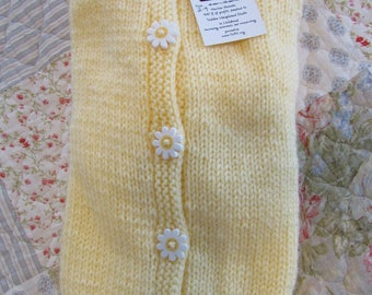 Daisy - Girls size 2-4 hand knit long-sleeved hooded cardigan sweater