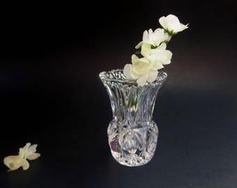 Vintage Mini Bud Vase - Lead Crystal Bud Vase or Toothpick Holder - Princess House Lead Crystal Vase Made in West Germany