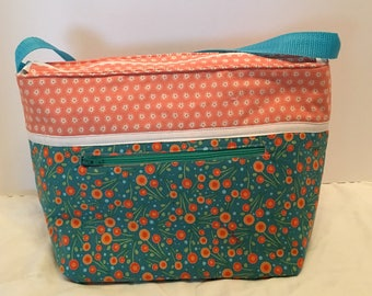 "LIPL3- Deep Lunch Bag: ""Dots and Dashes"" washable insulated lunch bag with zippered front pocket and zippered top closure."