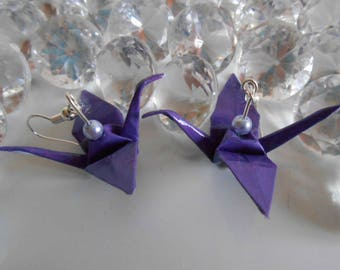 Lavender Pearl cranes origami earrings