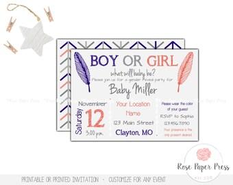 Boho Gender Reveal Invitation, Gender Reveal Party | Printed or Printable Invitation | Arrows, Feathers, Boy or Girl | Gender Reveal Invite
