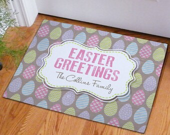 Easter Greetings Doormat, spring, spring decor, home decor, outdoor, indoor, greetings, rectangle, customized, Easter, -gfy83182927S