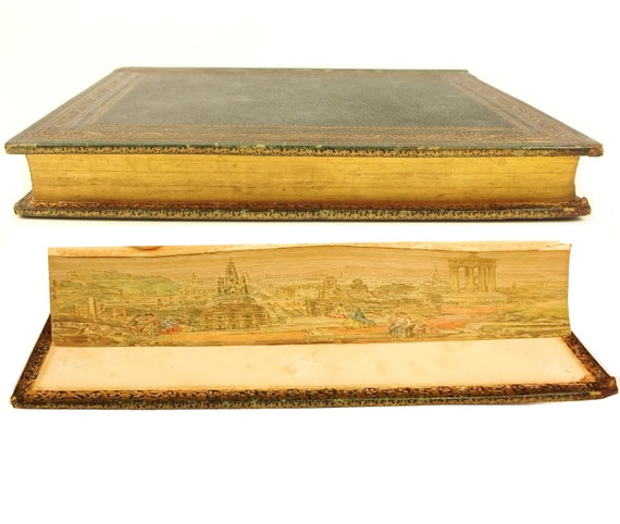 Fore-edge painting, Edinburgh Scotland. 1847 The Seasons by James Thomson. Woodcut illustrations. With Life of the Author.