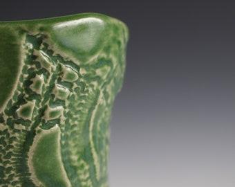 Small Handmade Green Pottery Tumbler