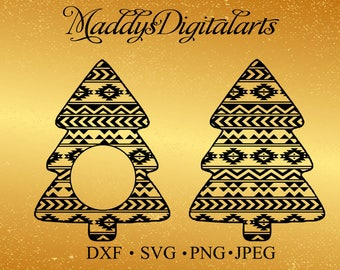 Aztec Christmas Tree Monogram Frame SVG - png - dxf - jpg - Cut file - Silhouette -Silhouette svg - Christmas Tree SVG -Tribal Christmas