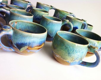 One Rustic Green Stoneware Mugs - MADE TO ORDER