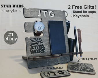 Wooden phone stand, personalized gift for husband, gift for dad, desk organizer, Boyfriend gift, Docking Station, Gift for Men, Star Wars