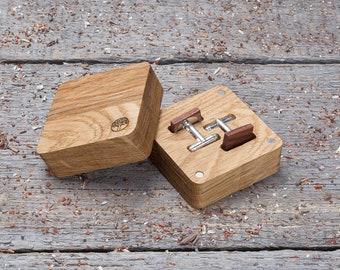 Wooden Cufflinks in oak wood gift box, monogrammed square rosewood wood cufflinks, boyfriend gifts, groomsman personalization gift sets