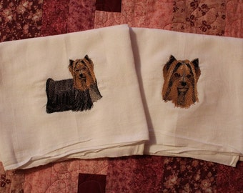 Pair of Machine Embroidered Yorkie Flour Sack Dish Towels