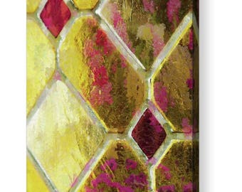Stained Glass, Stained Glass Canvas, Metal Photograph, Yellow Wall Decor, Garden Window, Flower Photography, Art Deco, Ready to Hang Artwork
