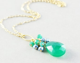 Emerald Green Drop Necklace, Blue Green Necklace, Onyx Necklace
