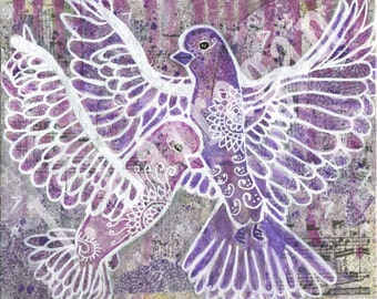 Mother Daughter, Purple Rain, Doves Cry, Prince Inspired, Spiritual Gift, Wall Decor, Art Print, Mixed Media, Jackie Barragan, Courage & Art