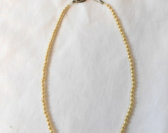 1940's 50's Faux Graduated Pearl Necklace with a Fish Hook Style Clasp
