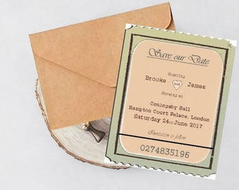 Vintage Theatre Ticket Personalised Save the date cards with envelope, Personalized vintage,Rustic Save the date,invitation & paper,Weddings