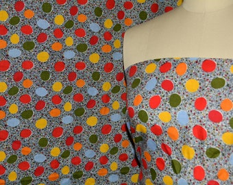 1970s fabric mod novelty fabric cotton fabric by the yard circles dots multi colored 70s fabric retro dress fabric