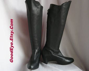 Vintage Wedge Heel Knee Boots w Leg Cinch / size 8 .5 M Eu 39 Uk 6 /  BLACK Leather / LEIFSDOTTIR Elfin Boot