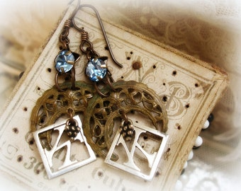 moon oVer miami one of a kind vintage assemblage earrings vintage rhinestones + crescent filigree + antique K monograms