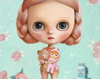 Girl and her toys, pop surrealism original LIMITED EDITION print, big eyed painting , queer art fairy tale, girl portrait, vintage toys