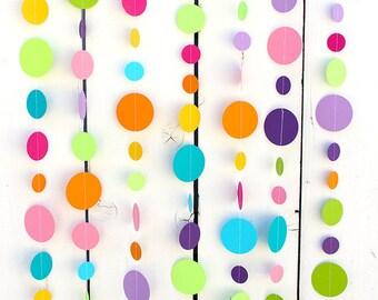Confetti dots Paper Garland - Party Garland - Birthdays - Celebrations - Rainbow Garland