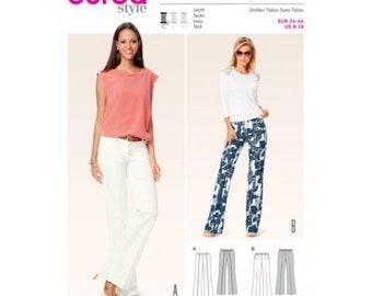Burda 6636 Size 8-18 Misses Bell Bottom Pants Sewing Pattern / Uncut/FF