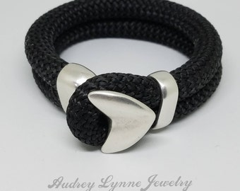 Nylon Bracelet with Antiqued Silver Hook Clasp