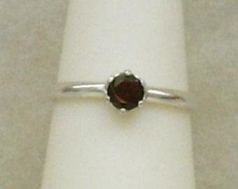 Genuine Red Garnet Gemstone in Argentium Silver Ring Size 7 January Birthstone