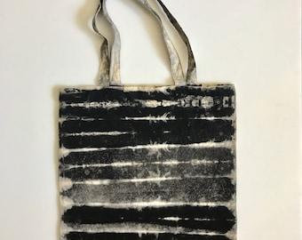 Black Shibori Tote, Minimal Stripes Hand Dyed Tote Bag, Black and White Cotton Canvas Tote