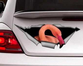 Flamingo car  decal , bird decal,  Vinyl decal, bird sticker, funny  decal, flamingo sticker