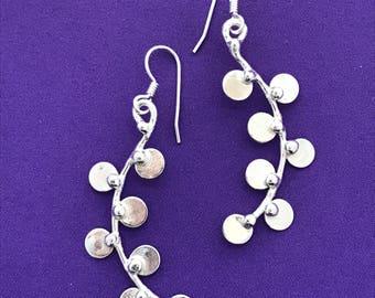 Long Dangle Earrings - Handcrafted Long Silver Earrings - Multiple Circle Design Earrings - Slender Long Earrings