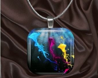 Rainbow Kites Glass Tile pendant with chain(CuRa1.6)