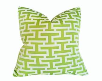 Green Geometric Pillow Cover, Green Throw Pillow, Green White Pillow, 18x18, Greek Key, Graphic Pillow, Green Cushion, SALE